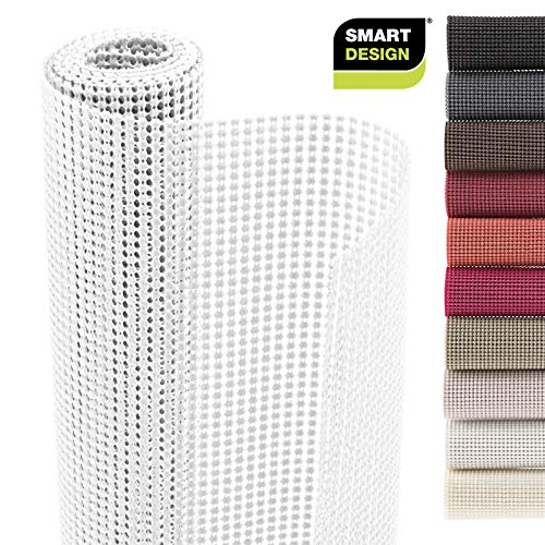 Smart Design Shelf Liner Classic Grip - (12 Inch x 10 Feet) - Drawer Cabinet Non Adhesive Protection - Kitchen [White]