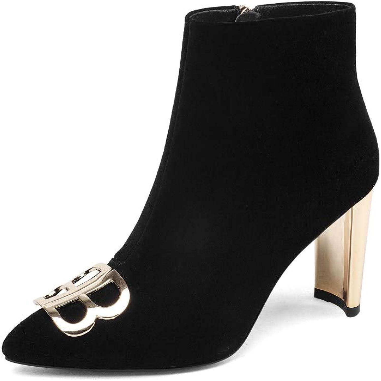 Nine Seven Suede Leather Women's Pointed Toe Exquisite High Heel Side Zip Handmade Metallic Ankle Boots