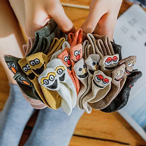 Bestevery Damen Socken Fun-Socken Baumwolle Komfortabel Netter Cartoon Bestickte Lustig kurz Frauen Socken(10 PCS)