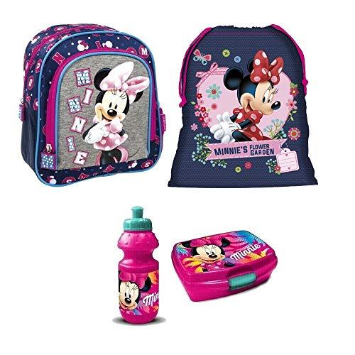 Minnie Maus Mickey Mouse Disney Kindergarten Rucksack Set 4 Teile Brotdose Trinkflasche Turnbeutel mit Sticker von Kids4shop