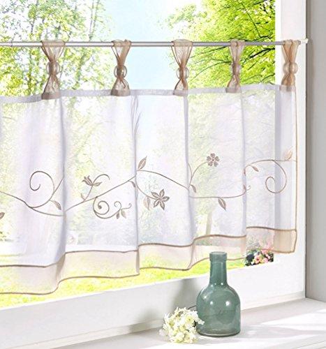 ZebraSmile Embroidered Window Tier Curtain Tier Semi Sheer Curtain Window Treatment Tab Top Voile Window Curtain Tier Half Window Curtains for Kitchen Bathroom Living Room Cafe Curtain 24X47.5In