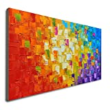 Seekland Art Hand Painted Texture Oil Painting on Canvas Abstract Wall Art Deco Contemporary Artwork Framed Ready to Hang (48*24 inch)
