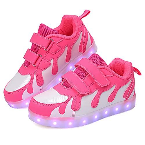 Zapatillas LED para niños, jóvenes, bajas, con luz, para niñas, niños, con USB, para niños, con interruptor, tamaño: 39, color: rosa