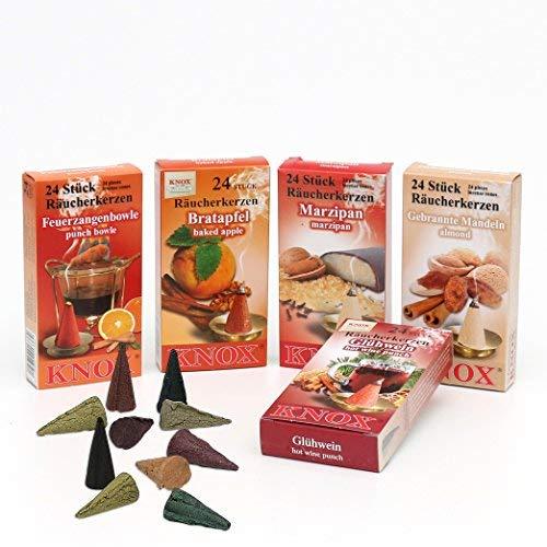 Knox XL Sparpack 5 Päckchen Räucherkerzen - Bratapfel, Marzipan, Gebrannte Mandel, Glühwein und Feuerzangenbowle
