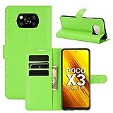 Fertuo Hülle für Poco X3 Pro / X3 NFC, Handyhülle Leder Flip Hülle Tasche mit Standfunktion, Kartenfach, Magnetschnalle, Silikon Bumper Schutzhülle Cover für Xiaomi Poco X3 NFC Smartphone, Grün