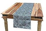 Ambesonne Ethnic Table Runner, Portuguese Azulejo Tiles Floral European Medieval Style Mosaic Moroccan Retro Effect, Dining Room Kitchen Rectangular Runner, 16' X 72', Orange Blue