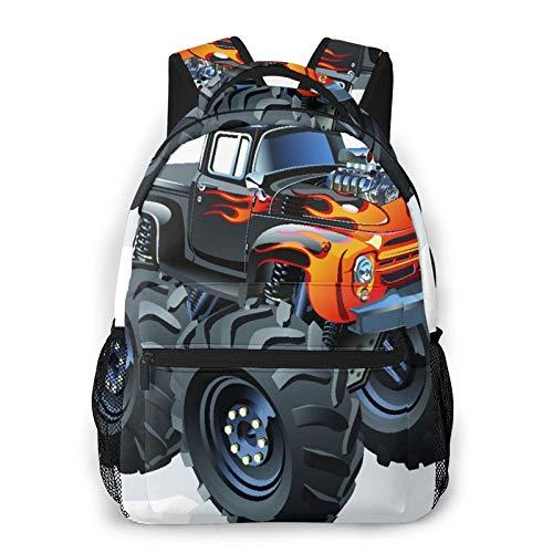 Rucksack für Teens Männer Frauen Speicherpaket,Monster Truck In Flame Big Hobby Sports Exotic Automobil Style Image,Beiläufig Schülertasche Reise-Laptop-Tagesrucksack