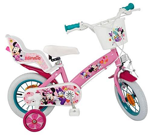 Disney Kinderfahrrad Minnie Mouse 12 Zoll Mädchen - Fahrrad mit Puppensitz, Korb, abnehmbaren Stützrädern
