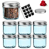 LovoIn 6 Pack 4 oz Regular Mouth Glass Jars with Silver Metal Airtight Lids, Fashioned Mason Jars for Baby Foods, Jams, Jellies, Fruit Syrups, Body Milk, Pizza Sauce - Blue