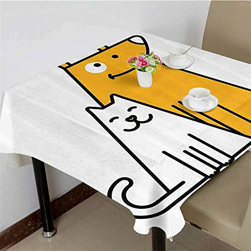 DRAGON VINES Tablecloth Clip Cats and Dogs Human Best Friends Forever Kids Nursery Room Art Print,Kitchen Banquet Table Cover 70 x 70 inch