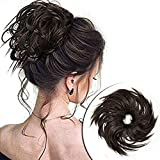 careonline Tousled Updo Messy Bun Hair Piece Synthetic Wavy Bun Extensions Rubber Band Elastic Fluffy Scrunchie Donut Chignon Ponytail Hairpiece for Women(Dark Brown)