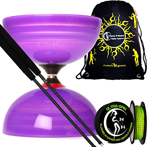 Sundia SHINING PRO Triple Bearing Diabolo Set (Purple) + Henrys Carbon Diabolo Sticks, 10m ULTRA-SPIN Performance Diabolo String + Fabric Diablo Travel Bag.TOP OF THE RANGE Diabolo set!