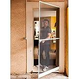 Werkapro 10763 - Puerta mosquitera (215 x 100 cm, marco de aluminio), color blanco y negro