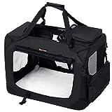 FEANDREA Bolsa de Transporte para Mascotas Transportín Plegable para Perro Portador Tela Oxford Negro M 60 x 40 x 40 cm PDC60H