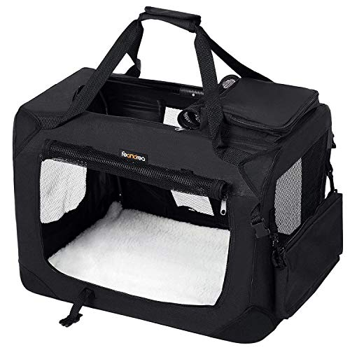 FEANDREA Hundebox, Transportbox für Auto, Hundetransportbox, Faltbare Katzenbox, aus Oxford-Gewebe, schwarz, L, 70 x52 x 52 cm PDC70H