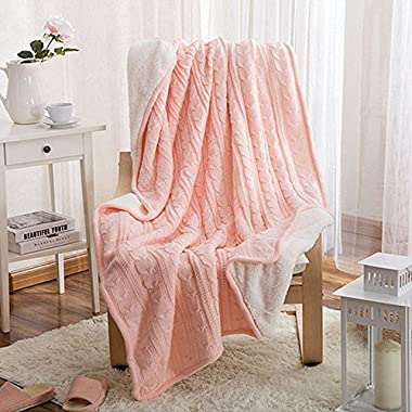 Prosshop Chunky Knit Throw Blanket,100% Cotton Thick Warm/Cozy/Soft Plush Fluffy Velvet Cable Couch Cover Blanket Multi Color (Pink, 47'' 71'')