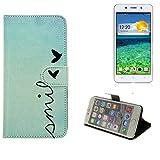 K-S-Trade® Schutzhülle Für Cubot X9 Hülle Wallet Case Flip Cover Tasche Bookstyle Etui Handyhülle ''Smile'' Türkis Standfunktion Kameraschutz (1Stk)