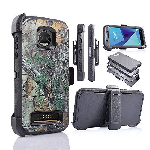 摩托罗拉Z2 Force[四层保护]客户第一重型防护枪套,内置屏幕保护器(CAMO)
