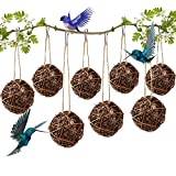 TOPZEA 8 Pack Hummingbird Nesting, 4 Inch Bird Nesting Materials Holder Globe Hummingbird House Nest Balls Birdhouses with White Fiber,Design for Outdoor Nesting, Garden, Gift for Bird Lovers