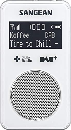 Sangean DPR-34+ tragbares DAB+ Digitalradio (UKW-Tuner, integrierter Lautsprecher, Li-Ion Akku) weiß