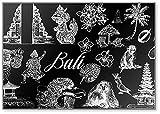 Lot d'objets dessinés à la main sur le thème de Bali Isolés sur fond noir