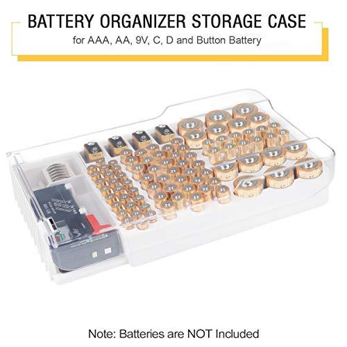 Batterij Opslag Organizer Case, Batterijen Opbergdoos bevat 93 Verschillende Grootte Batterijen voor AAA, AA, 9V, Platte Batterijen, C en D grootte met Verwijderbare Batterij Tester Door Makerfire