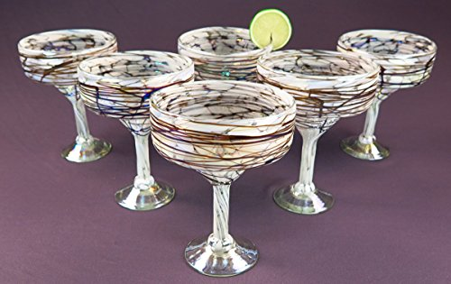 Mexican Margarita Glass White with iridescent Chocolate swirls, 14 Oz, Set of 6