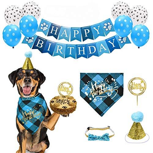 Feeko HundGeburtstag Party liefert 13 Pcs, Bandana, Alles Gute zum Geburtstag Banner, Ballon, Dreieck Schal, Krone Hut, Fliege für Pet Boy/Mädchen, Geburtstag Outfit für kleine/mittlere/große Hund