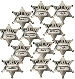 Livativ Playko Metal Sheriff Badges - Pack of 12 Cop Badges - Sheriff Star Badge with Space for Personalized Name and Safety Pin - Police Theme Party Favors - Cop Costume Badges for Boys, Girls