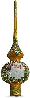 BestPysanky Santa Head and Mistletoe on Gold Glass Christmas Tree Topper 11 Inches