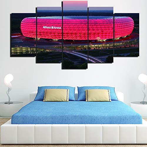 HNTHBZ Leinwand-Malerei 5 Stück Ölgemälde Bayern München Allianz Arena Gruppe HD-Raum-Dekor Bild-Druck-Plakat-Wand-Kunst Gemälde (Size (Inch) : 30x50 30x65 30x80cm)