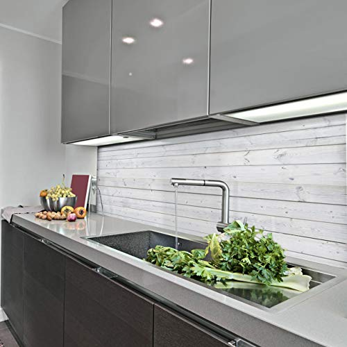 KERABAD Küchenrückwand Küchenspiegel Wandverkleidung Fliesenverkleidung Fliesenspiegel aus Aluverbund 3mm 50x120cm Holzoptik Holz Weiss