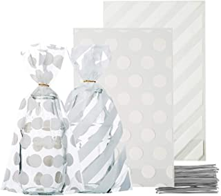 AWELL Small White Cello Bags 6.5x4.5 inch for Treat Candy Cookie Party Favor Bags,White Stripe and White Dot,Pack of 200