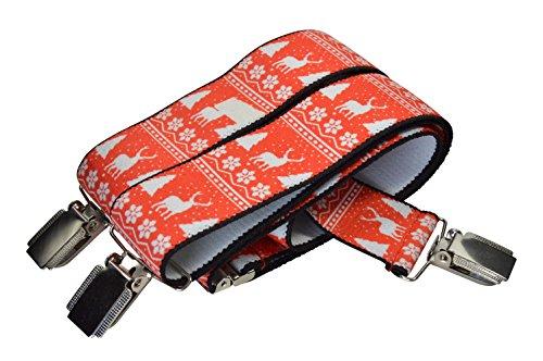 Olata Unisexe Bretelles pour Noël avec Renne Motif, entièrement réglable. Rouge