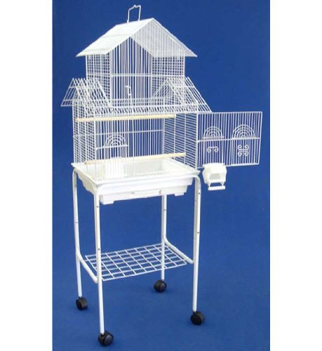 Mcage New Large Canary Parakeet Cockatiel Lovebird Finch Bird Cage with Stand -18'x18'x58'White 1802 White and 4814 White (Two Packges)