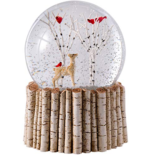 WeRChristmas Cardinal Bird & Reindeer Snow Globe, Birch Base Christmas Decoration, 12cm