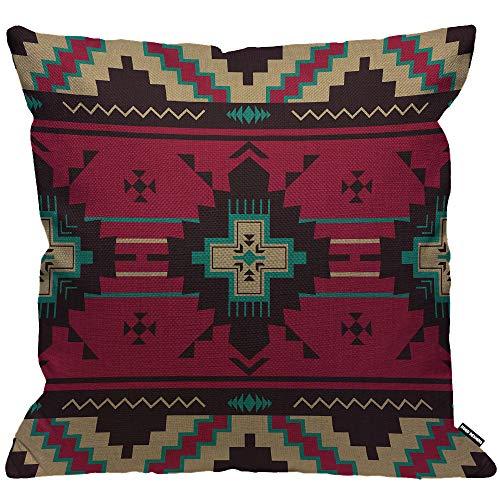 HGOD Designs Funda de cojín con patrón étnico, nativo del suroeste americano indio azteca navajo, funda de almohada decorativa para el hogar, sala de estar, dormitorio, sofá, silla de 45 x 45 cm