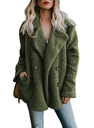 ORANDESIGNE Donna Cappotti Inverno Elegante Manica Lunga Felpa Peloso Cappotto Caldo Giacca Parka Cardigan Capispalla con Tasche Verde IT 42