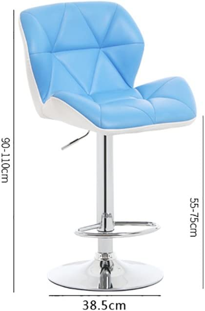 AJS Tabouret De Bar 360 ° Rotation Tabouret De Bar Simple Et Moderne Hauteur De Dossier Confortable Tabouret Haut De Restaurant A++ (Couleur : Bleu) Bleu