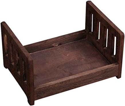 Gizayen Newborn Photo Small Wooden bed Photography Props Small and cute easy Assemble easy carry durable Newborn gift solid wood Structure for babySafety