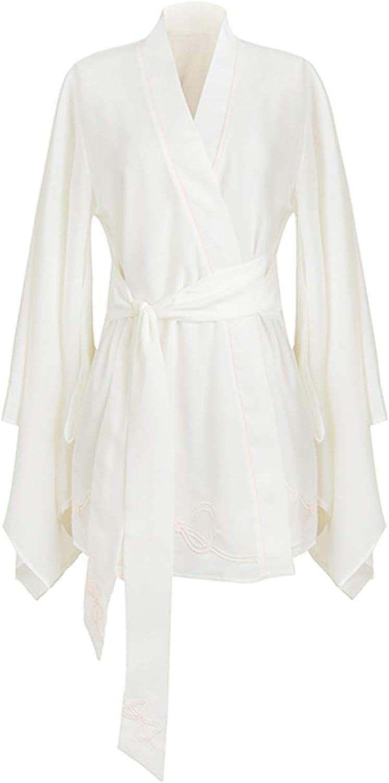Women's White Kimono Bathrobe, Hotel Comfortable Pajamas, Sexy VNeck Bridal Dressing Gown, Bow Belt