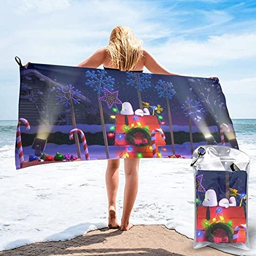 Snoopy - Toalla de dormir para casa de Navidad, de secado rápido, ligera, suave, para playa, natación, gimnasio, viajes, camping, 27,5 x 139,7 cm