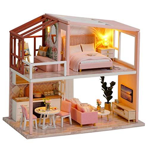 Cryfokt Kit de casa de muñecas DIY, casa de muñecas de Madera con Luces LED, Muebles, habitación Creativa, Mini casa de muñecas, Regalos para mamá, Esposa, Hija, niñas, Amigos, niños(#1)