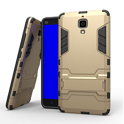 PYM5656 2 in 1 Armor Iron Armor Tough Style Hybrid Dual Layer Armor Phone Defender PC + TPU Cover Protettiva Rigida con Custodia Antiurto per Xiaomi 4 M4 Mi4 (Colore : Oro, Size : Xiaomi 4)
