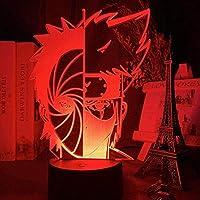 3Dイリュージョンランプは常夜灯を導きました日本のアニメナルトオビトうちはとカカシ畠ハーフフェイス子供寝室のテーブルランプギフト