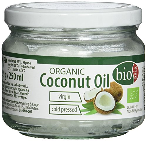 BIOASIA Bio Kokosöl, kaltgepresst, naturbelassen ohne Zusatzstoffe, veganes Fett zum Kochen, Braten und Backen, auch als Naturkosmetik verwendbar, 100 % Bio, 2 x 250 ml