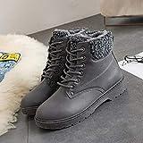 FBRR Botas para Mujer Botas de Nieve cálidas de Invierno Botas de Cuero de Terciopelo para Mujer Mujeres de Invierno Zapatos de Felpa (Color : WSH3431 Gray, Shoe Size : 11)