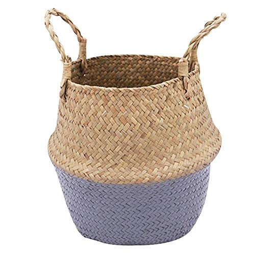 honghaier Seagrass Wickerwork Basket Rattan Flower Pot Laundry Hamper Storage Straw Basket(As shown in the first picture)