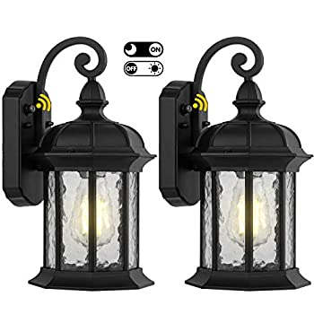 2 Pack Dusk to Dawn Outdoor Wall Lighting Outdoor Wall Lantern with Water Ripple Glass Waterproof Wall Sconce for Porch Front Door Patio or Garage