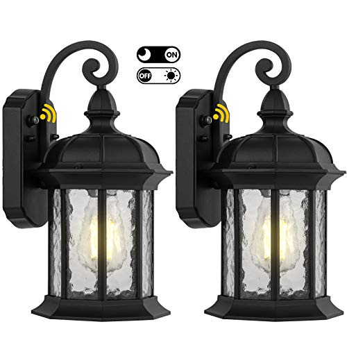 2 Pack Dusk to Dawn Outdoor Wall Lighting, Outdoor Wall Lantern with Water Ripple Glass Waterproof Wall Sconce for Porch, Front Door, Patio or Garage